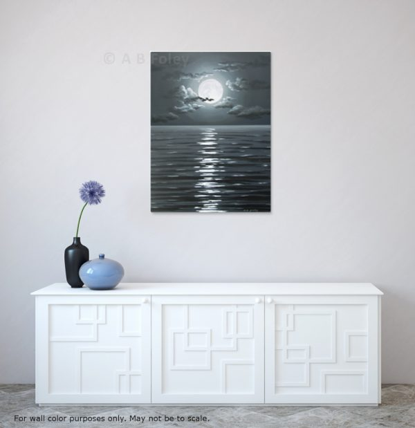 acrylic painting of full moon and clouds in a dark night sky over dark water with ripples, viewed in situ on a white wall over a white cabinet with vases