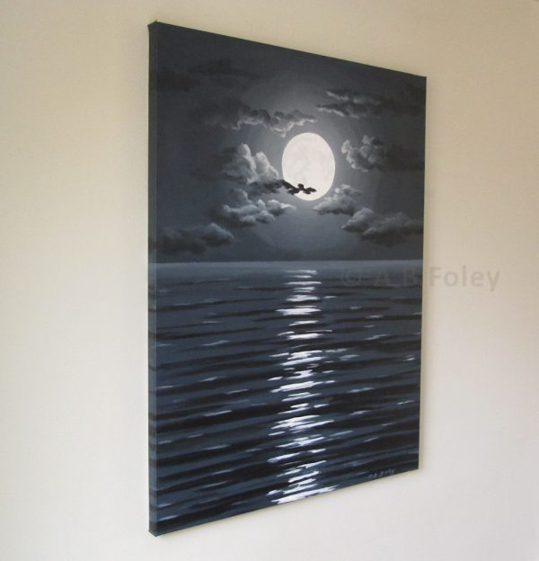 acrylic painting of full moon and clouds in a dark night sky over dark water with ripples, viewed from the left