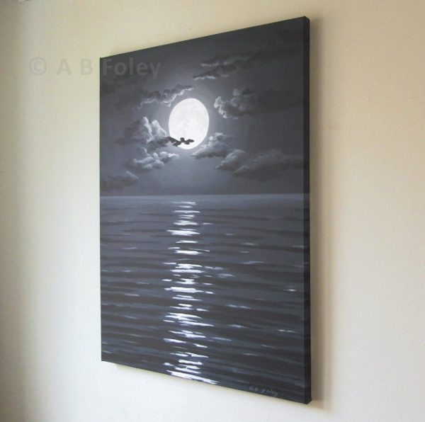acrylic painting of full moon and clouds in a dark night sky over dark water with ripples, viewed from the right