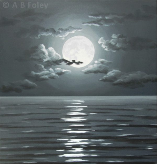 acrylic painting of full moon and clouds in a dark night sky over dark water with ripples