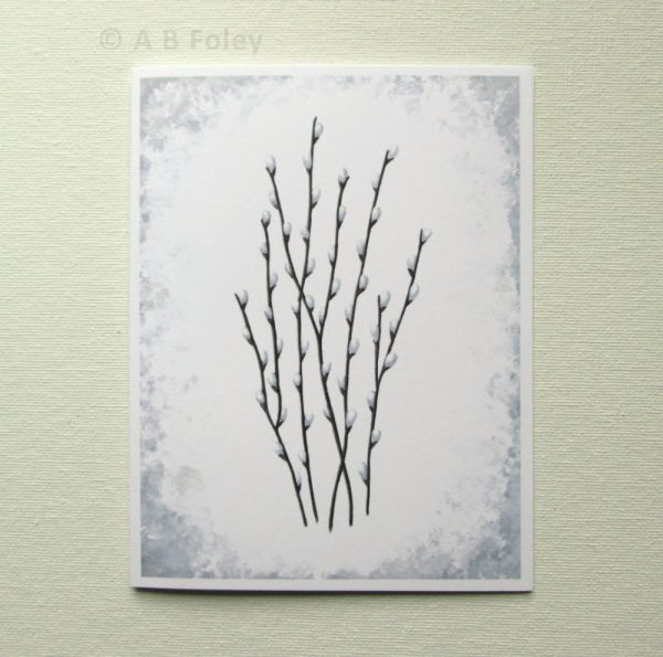watercolor note card with pussywillows and grey edge, pictured on a white background