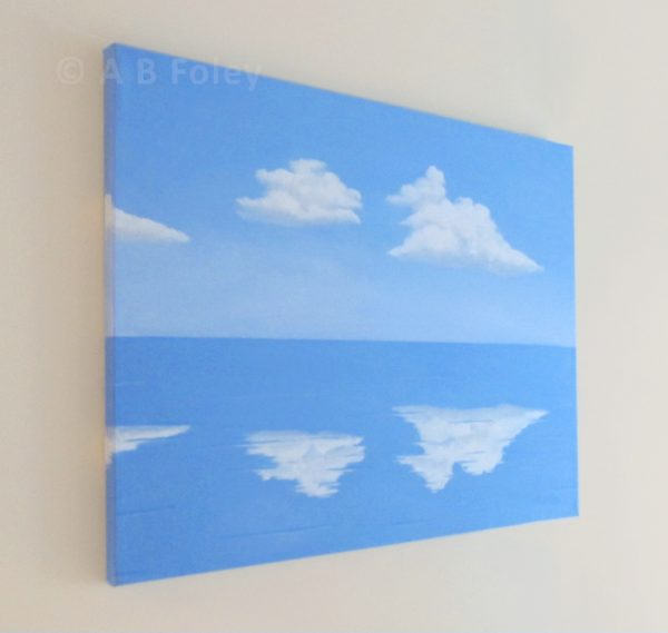 Acrylic painting of blue sky with fluffy white clouds reflected in clam blue water, viewed from the left side