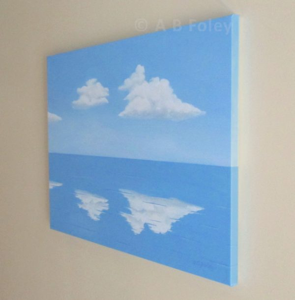 Acrylic painting of blue sky with fluffy white clouds reflected in clam blue water, viewed from the right side
