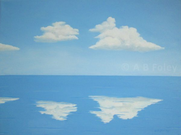 Acrylic painting of blue sky with fluffy white clouds reflected in clam blue water