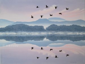 acrylic painting of a pink and purple sunrise sky and blue mountains reflected in water with a flock of flying birds in silhouette