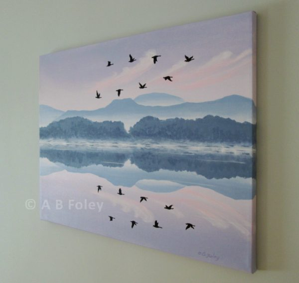 acrylic landscape painting of a purple sunrise sky with pink clouds and blue mountains reflected in water with a flock of birds flying in silhouette, viewed from the right side