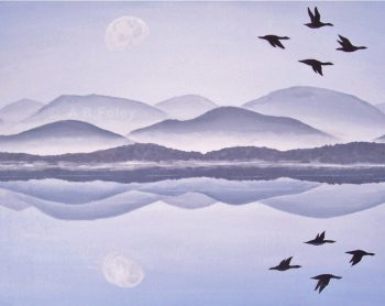 acrylic nature painting of silhouette birds flying over a lake at sunrise with moon and mountains reflected in water