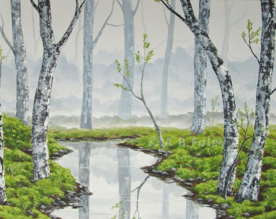 Acrylic landscape painting of gray trees reflected in water in a misty forest
