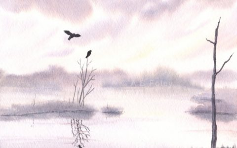 watercolor painting of birds over a lavender sunrise lake