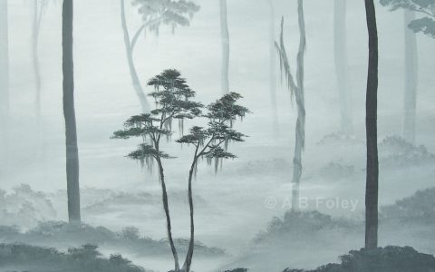 landscape painting of black trees in gray fog