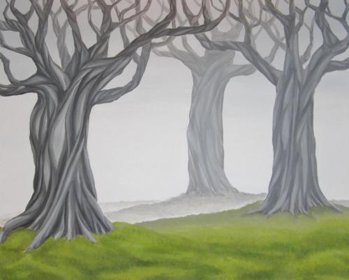 Gnarled Trees in Fog