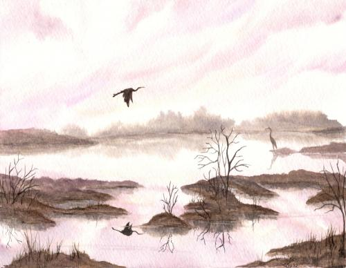 Herons in the Distance