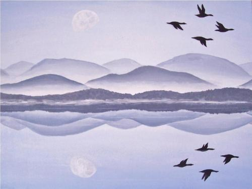Lake Under the Morning Moon