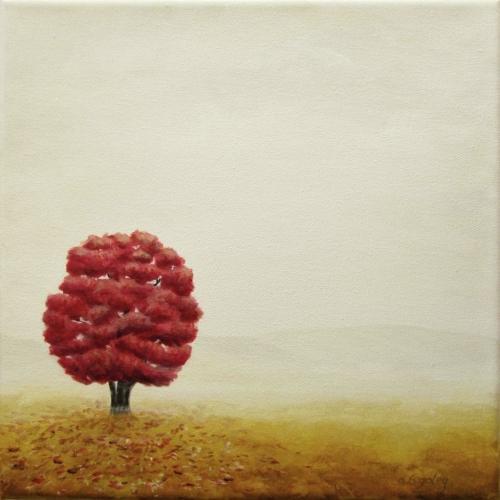 Lone Tree in Autumn Fog
