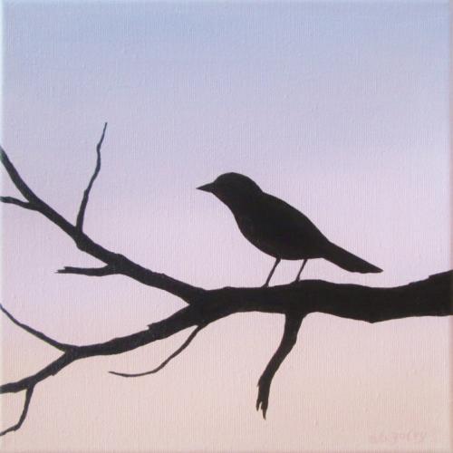 Perching Bird at Sunset